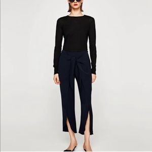 Zara Black Trousers with Front Slit